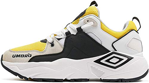 UMBRO Herren Run M Fitnessschuhe, Gelb (White/Black/Blazing Yellow/Grey Huq), 43 EU