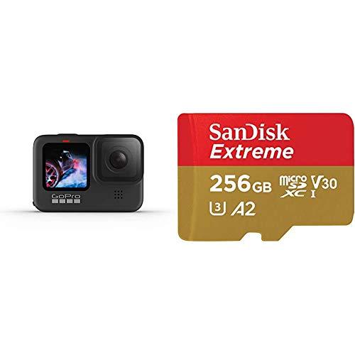 GoPro HERO9Black - Fotocamera sportiva impermeabile con schermo LCD + Sandisk Extreme Scheda di Memoria Microsdxc da 256 GB e Adattatore SD con App Performance