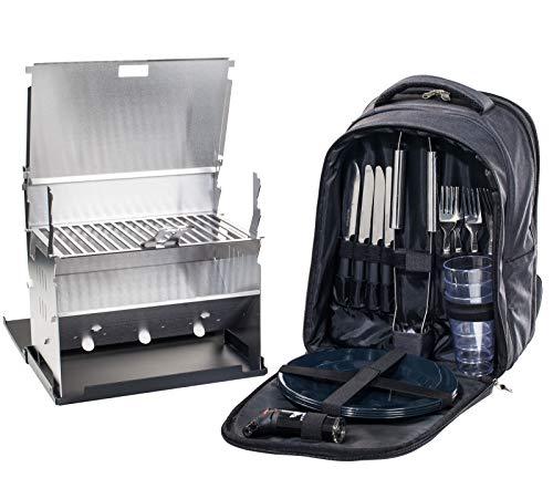 FENNEK Backpack und Grill im Set | Picknick, Camping, Trekking, Wander, Outdoor Rucksack, mit Kühlfach & Zubehör für 4 Personen