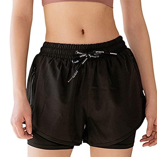 GAOYUAN Pantalones cortos respirables de doble capa, para verano, color sólido/estampado de leopardo, pantalones cortos para correr yoga, Negro, L