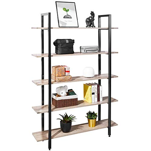AOOU 5-Shelf Bücherregal Industrial Style Vintage Bücherregal Lagerturm Open Wide Modern Home Office Lagerschrank Mehrzweck Regal Display Schlafzimmermöbel, Holz (braun)
