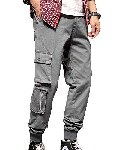 GuoCu Hombres Casual Streetwear Suelto Hiphop Pantalones Harem Regualr Fit Primavera Otoño Pantalones Deportivos Cintura elástica Pantalones chándal Cargo de Jogging con cordón Gris 4XL