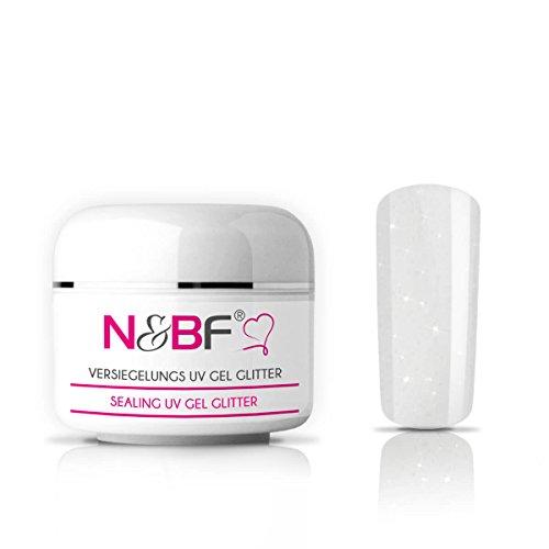 N&BF UV Versiegelungsgel klar, mit Glitzer | 15ml hochwertiges Profi Hochglanz Gel mittelviskos | Versieglergel für intensiven Glanz | Professionelles Abschluss Nagelgel mit Glanzfinish