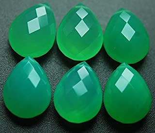 Jewel Beads Natural Beautiful jewellery 2 Matched pairs,Chrysoprase Chalcedony Faceted Pear Shape Briolettes 10x14mmCode:- JBB-31348