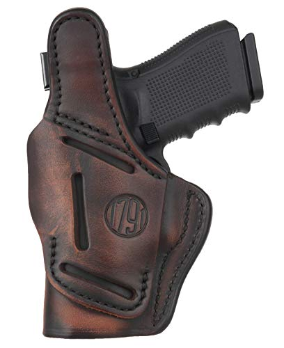 1791 GUNLEATHER 4 Way Thumb Break Holster - OWB & IWB Right Handed Leather Gun Holster - Compatible for Glock 17 19 22 23 32, Ruger SR9 SR22, Sig P225 P299, SW MP9 MP40, Taurus G2 (Vintage Brown)