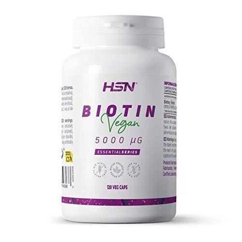 Biotina 5000mcg de HSN | Vitamina para el crecimiento del Cabello | Evita la Caída de pelo + Fortalecimiento de Uñas y Piel más tensa y suave, Vegano, Sin Gluten, Sin Lactosa, 120 cápsulas vegetales