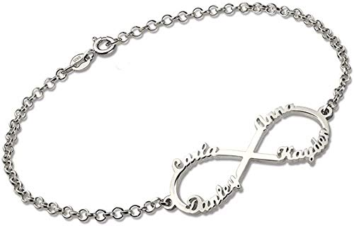 KAULULU Pulseras Mujer Personalizadas Infinity con Nombre Grabado con Niño nombre para Madre Hija Joyas Regalos de Cumpleaños para Mamá Bff Hermana (4 Name)