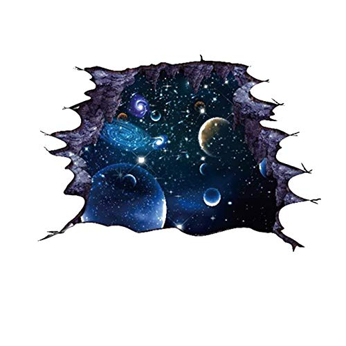 Pegatinas del Azul 3D Galaxy Pared - Escena Universo con Las Estrellas del Cielo Estrellado de Planetas - desprendible de la Pared Mural Vinilos para niños Dormitorio de Techo Sala - 70 x 50cm