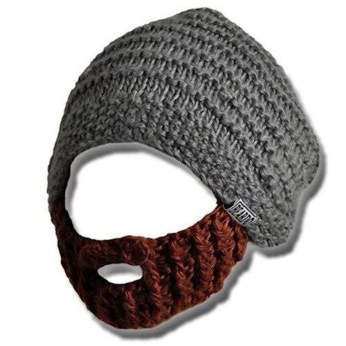 Beardo ® Original Bartmütze Bartmützen (verschiedene Farbkombinationen) - mit abnehm- und verstellbarem Bart ('Blizzard' - Mütze grau / Bart braun)