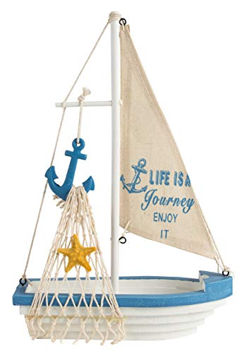 Juvale - Decorazione modello barca a vela in legno, motivo nautico da spiaggia, colore: blu navy e bianco con ancora, 30 x 20 x 3 cm