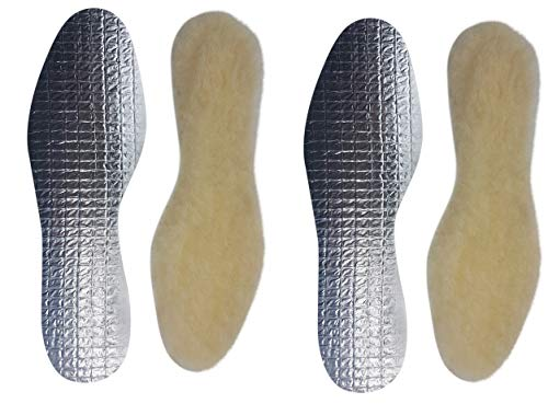 2 paar echte warme kuschelige Lammwoll Alu Einlegesohle-n I Gr.38 I 24,5cm Basic creme Damen Herren Gr.36-48 (38 EU)