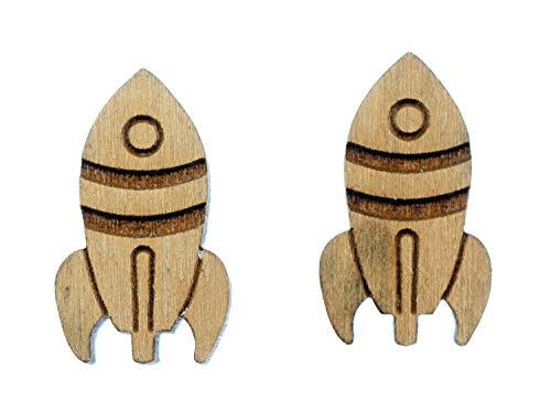 Miniblings Pendientes de cohete de madera, diseño de nave espacial con forma de avión, hechos a mano