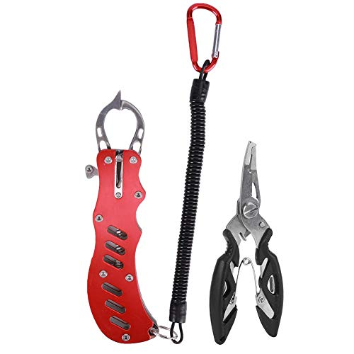 フィッシュグリップ フィッシュプライヤー 2点セット 釣り具セット ステンレス製 防錆 魚掴み器 淡水 海釣 多機能ツール 携帯便利 使いやすい 可能(レッド)