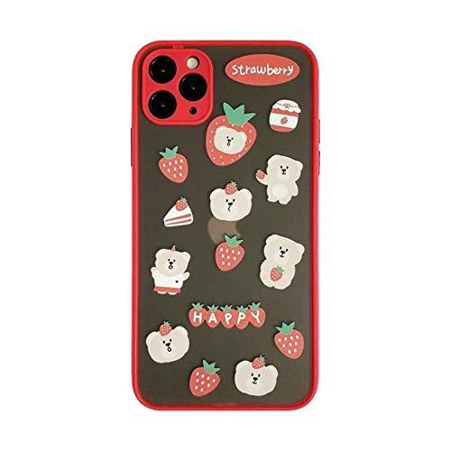 DSMYYXGS Linda Caricatura Clara de Fresa del Oso de la Fresa Estuche Coreana For iPhone 11 Pro MAX XR X XS MAX 7 8 Puls SE Casos DE TPU Duro TPU (Color : Red, Size : For iPhone XS (5.8))
