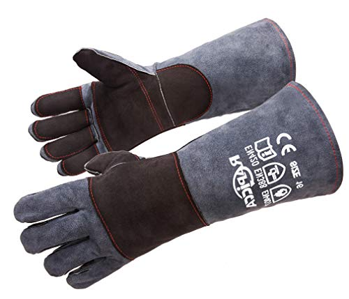 RAPICCA 16 Inches,932℉,Leather Forge/Mig/Stick Welding Gloves Heat/Fire Resistant, Mitts for Oven/Grill/Fireplace/Furnace/Stove/Pot Holder/Tig Welder/Mig/BBQ/Animal handling glove with 16 inches Extra Long Sleeve– GreyBlack