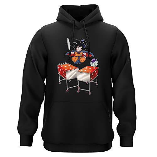 Okiwoki Sweat-Shirt à Capuche Noir Parodie Dragon Ball Z - DBZ - Songoku et Freezer - Tour de Magie. : (Sweatshirt de qualité Premium de Taille L - imprimé en France)