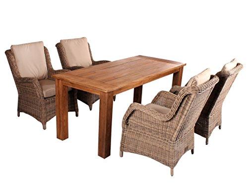 Trendy-Home24 5tlg. Essgruppe Sitzgruppe 180 x 80 cm Teakholz hochwertiges Polyrattan Sessel Sitzgruppe Teaktisch Gartenmöbel grau beige