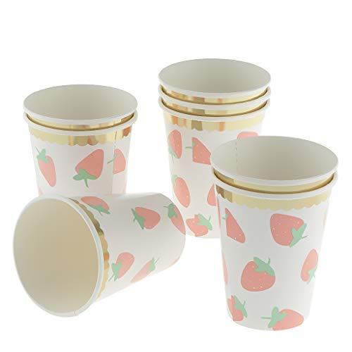 F Fityle 8 Stücke Erdbeere Pappbecher Party Einweg Papierbecher für Hawaii Sommer Party Supplies