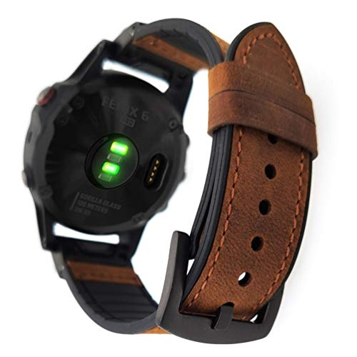 YOOSIDE Fenix 5/Fenix 6 Leder Armband, 22mm QuickFit Leder Armband Echtleder+Silikon Ersatzarmband Uhrenarmband für Garmin Fenix 6 Pro/Sapphire,Fenix 5/5 Plus,Forerunner 935/945, Instinct, Braun