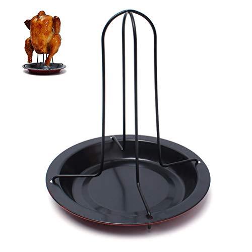 Macabolo carbon stalen kip roaster rack bier blik verticale rooster kip houder met druppelpan voor oven grill grill gereedschap