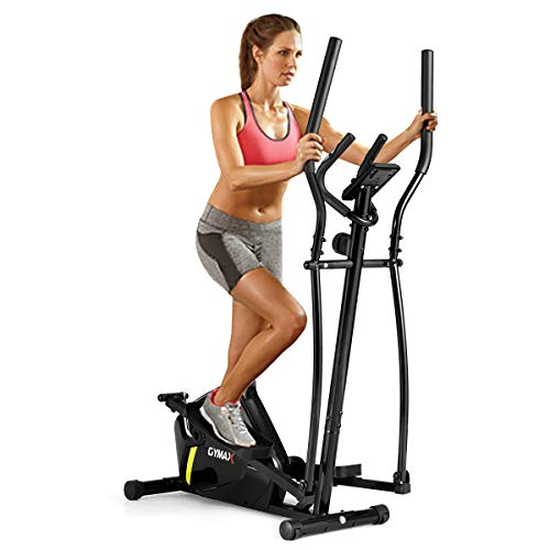 GYMAX Adjustable Magnetic Rear Elliptical Trainer with LCD Monitor.