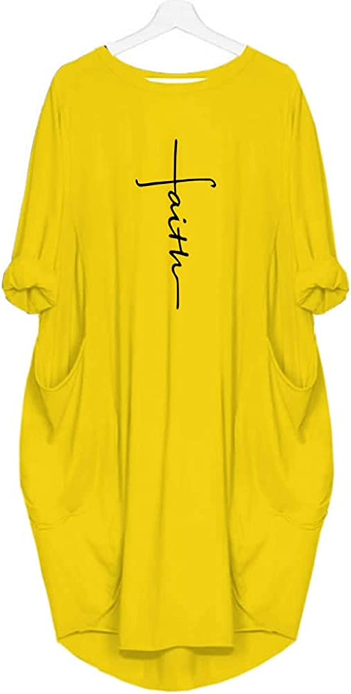 Rfecccy Women's Selling Max 47% OFF Faith Oversize Baggy Loose Shirt T Party Causal