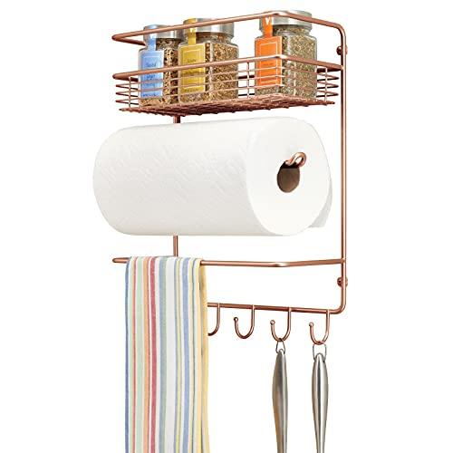 mDesign Práctico portarrollos de Cocina – Versátil estantería de Pared metálica para Cocina o despensa – Organizador de Pared con Cesta Grande en Alambre de Metal y 4 Ganchos para Colgar – cobrizo