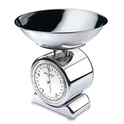 Soehnle 65003 Bilancia da Cucina Silvia, in Acciaio Inox, Argento, meccanica, silver, legno