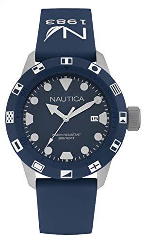 Nautica Herren Analog Quarz Uhr mit Silikon Armband NAI09511G