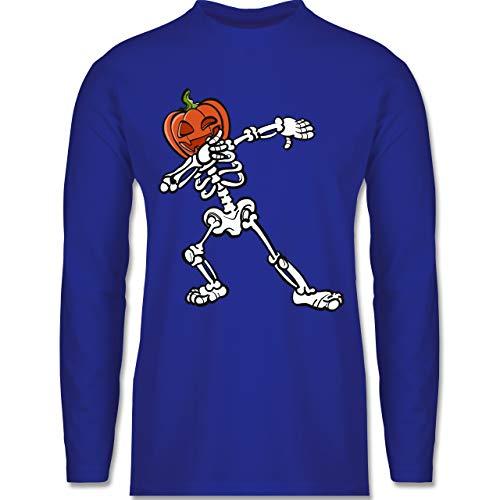 Shirtracer Halloween - Halloween Skelett mit Kürbis - S - Royalblau - Halloween - BCTU005 - Herren Langarmshirt