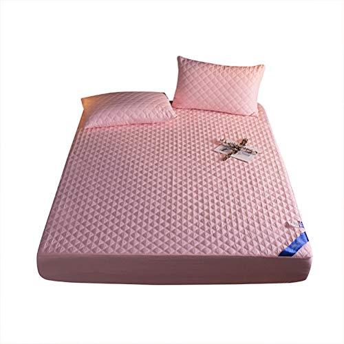 XWSM Ropa Cama Suave Protector Colchón Impermeable Acolchado Funda De Colchón Ajustable Funda Colchón Ajustada Elástica Cubrecolchón (Color : Pink, Tamaño : 150x200cm)