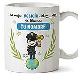policía. Tazas originales personalizadas con tu nombre de café y desayuno para regalar - Esta taza pertenece a la mejor policía del universo - Cerámica 350 ml - Personalizable café y desayuno