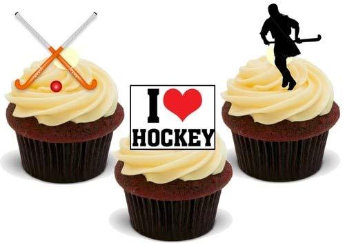 Feldhockey-Mix - 12 essbare hochwertige stehende Waffeln Karte Kuchen Toppers Dekorationen, Field Hockey Mix - 12 Edible Stand Up Premium Wafer Card Cake Toppers Decorations