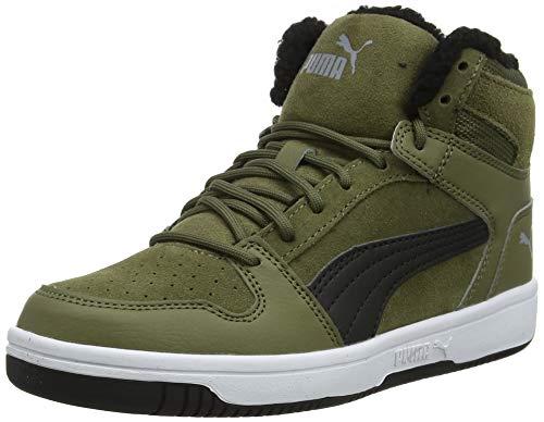 Puma Puma Rebound Layup Fur SD Jr Sneaker Unisex-Kinder, Grün (Burnt Olive-Puma Black-Limestone-Puma White), 39 EU