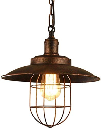 HYLH Industrial Nautical Pendant Light Fixture Edison E27 Farmhouse Indoor Lighting Barn Metal Wire Caged Ceiling Lamp Iron Cage Rust Finish Shade Kitchen for Bedroom Living Room Kitchen