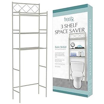 J&V TEXTILES 3-Shelf Bathroom Organizer Over The Toilet Bathroom Spacesaver  Satin Nickel