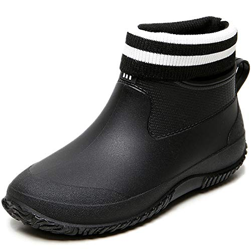 Acfoda Winter Gefuettert Gummistiefel Damen Kurz Warm Regen Stiefel Herren Wasserdicht Regenschuhe Gummi Garten Schuhe Slip On Arbeitsschuhe rutschfest Ankle Rain Boots Schwarz 39