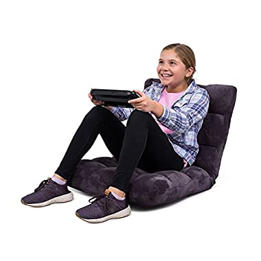 BirdRock Home Adjustable 14-Position Memory Foam Floor Chair | Padded Gaming Chair | Comfortable Back Support | Rocker | Great Reading Games Meditating | Fully Assembled | Eggplant