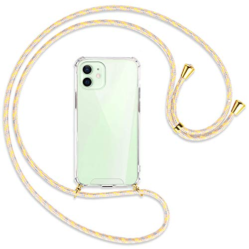 mtb more energy Collana Smartphone per Apple iPhone 12, 12 PRO (6.1'') - Fiori Vintage/Oro - Custodia indossabile per Collo - Cover a Tracolla con cordina