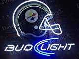 LeeQueen Creative Design Customized New 17inx13in Pittsburgh Sports Team Steeler Bud-Light Helmet Neon Sign (Various Sizes) Beer Bar Pub Man Cave Business Glass Neon Lamp Light DB112