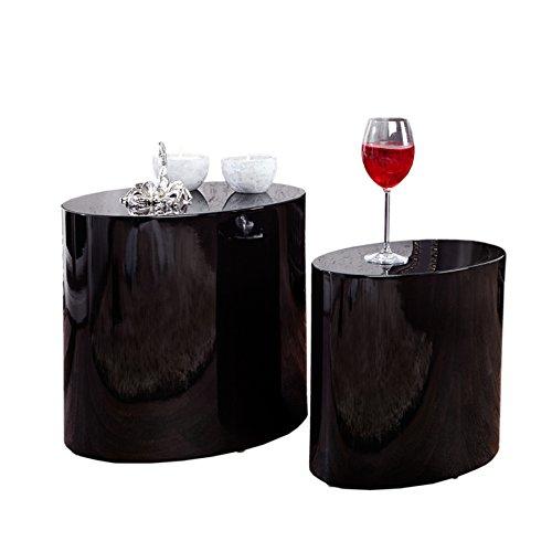 Invicta Interior 21607 Tavolini da tè ovali, Set di 2, in legno, nero
