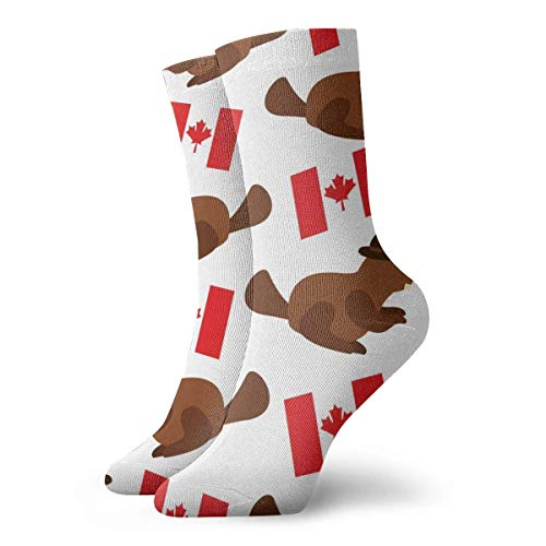 2020 Christmas Ornaments Beaver with Canadian Flag Crew Athletic Sock for Men and Women Classic Breathable Dress Socks 30 cm