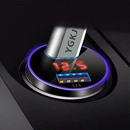 YGKJ USB Auto Ladegerät, Quick Charge 3.0+2.4A 30W Schnell Zigarettenanzünder 12V/ 24V Metall KFZ Ladegerät 2-Port mit LED Digital Voltmeter für iPhone, Samsung Galaxy, Huawei Und mehr (Schwarz)