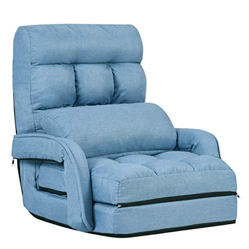 COSTWAY Klappsofa verstellbar, Bodenstuhlsofa gepolstert, Liegebett mit Armlehnen und Kissen, für Zuhause und Büro (Blau)