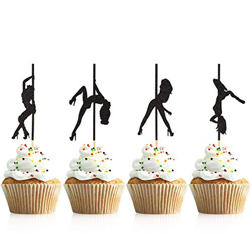 Donoter 48 Pcs Pole Dancing Cupcake Toppers Pole Dancers Cake Picks for Bachelorette Party Birthday Decorations