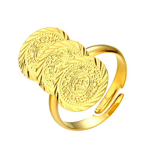 Anillo árabe antiguo moneda tamaño libre mujeres niña Oriente Medio joyería dinero musulmán islam, venta al por mayor anillo de monedas África