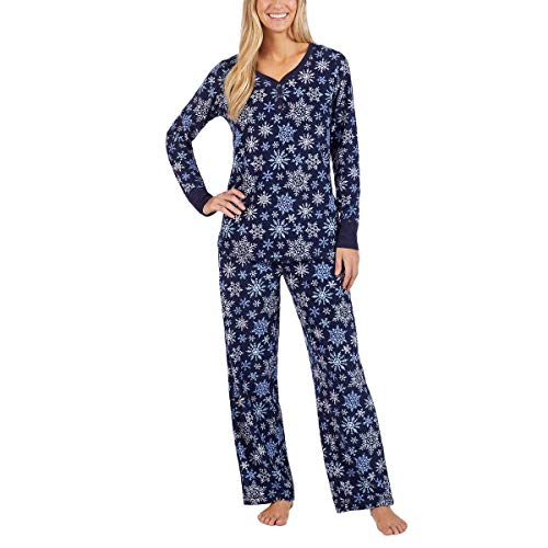 Nautica Women's 2 Piece Fleece Pajama Sleepwear Set (Dark Blue Snowflakes, XX-Large)