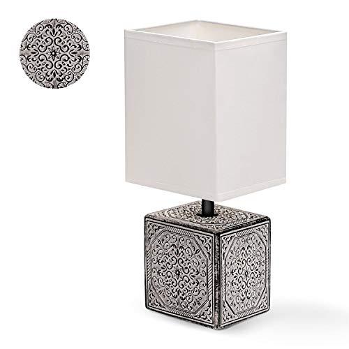 Tischlampe Keramik Tischleuchte Lampe für Nachttisch Beistelltisch Nachttischlampe Stoffschirm E14 Lustig Vintage Retro