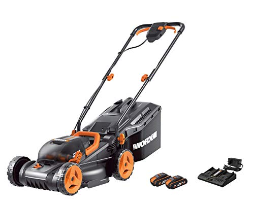 WORX Tondeuse Gazon sans Fil WG779E, 2 * 20V 2.5Ah Batterie POWERSHARE, Technologie IntelliCut, Largeur de Coupe 34 cm, Hauteur de Coupe Variable 20-70 mm, jusqu'à 450 m²