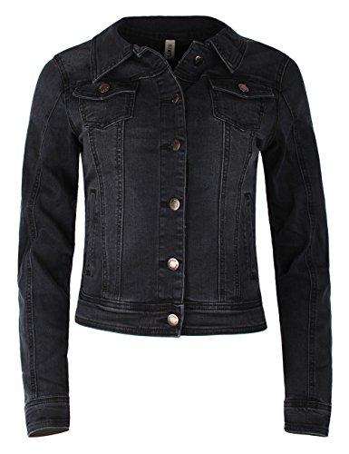 Fraternel Damen Jacke Jeansjacke Denim Jacket talliert Stretch Schwarz S / 36